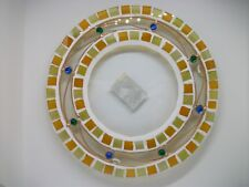 GLASS MOSAIC CANDLE PLATE / HOLDER - ORANGE & LIME - 16CM