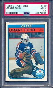 1982 OPC O-Pee-Chee #105 Grant Fuhr RC PSA 7.5 NM + Edmonton Oilers Rookie Card