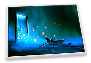 Mirror Seascape Boat Bathroom Blue CANVAS FLOATER FRAME Wall Art Print Picture