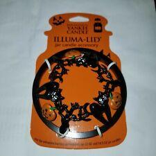 New Yankee Candle Halloween Black Cats & Pumpkins Illuma Lid Jar Topper *Rare*
