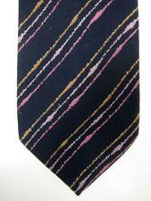 GORGEOUS Vintage Missoni Skinny Tie Black With Pink Stripe Made in Italy