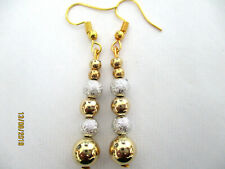 GOLD BALL & FROSTED SILVER BALL DROP DANGLE EARRINGS