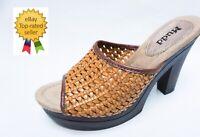 NEW MUDD womens CREATE Tan Busket Weaved platform heels sandals 7 7.5 9 9.5