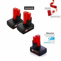 2 Pack 6000mAh M12 12V Replacement Battery Milwaukee Lithium-Ion