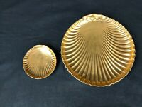 VTG SET OF 2 1980s FITZ & FLOYD FINE PORCELAIN LIMITED EDITION GOLD SHELL PLATES