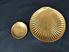 Vtg Set Of 2 1980s Fitz & Floyd Fine Porcelain Limited Edition Gold Shell Plates