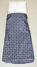 "Ellison Tailored Bed Skirt ~ 14"" Drop ~ Navy Gray Geometric ~ Full 54 x 75 *NEW*"