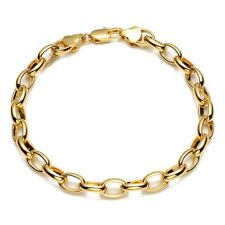 "Men's/Women's Bracelet Charms Chain 18K Yellow Gold Filled 8"" ring Link"