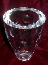 Large antique geometric bubbles and lines engraved studio crystal glass pot