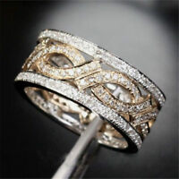 Women White Topaz 925 Silver Band Ring Engagement Wedding Gift Jewelry Size 6-10