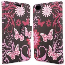 for HTC One X9 Wallet Case - Pink Butterfly Design Folio Phone Pouch