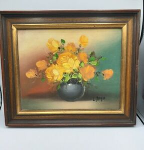 """Still Life of Roses In A Bowl, Oil On Board Signed L Hope Mid Century 12.5"""" X10"""""""