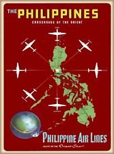 The Philippines Crossroads Orient Airlines Vintage Travel Advertisement Poster