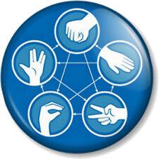 Rock Paper Scissors Lizard Spock 25mm Pin Button Badge Big Bang Theory Sheldon