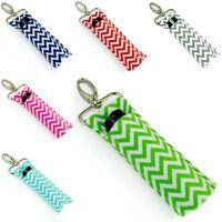 Women Portable Lipstick Holder Keychain Lip Balm Pouch Key Ring Storage Bag 1pc