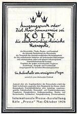 "Städtisches Verkehrsamt Köln ""Pressa"" Mai-Oktober 1928 Historische Reklame 1927"