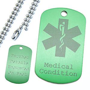 Aluminium Coloured Medical Alert Dog Tag Pendant & Ball Chain Identification ID