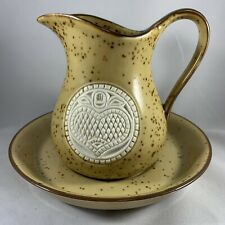 Vintage Pitcher and Basin Brown Speckled White Heart Embossed Design Small