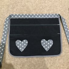 Boot Craft Fair Money Belt Cash Bag Market Trader  Denim Grey Spot Hearts