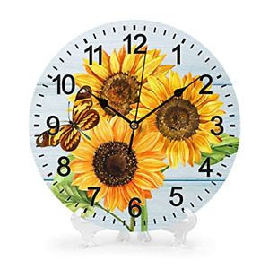 Wall Clock Butterfly Sunflower Wall Clocks Battery Operated 10 inch Silent Non