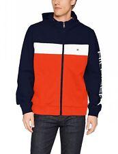 Tommy Hilfiger Men's Retro Colorblocked Hooded Jacket, Navy/White/Orange, Medium