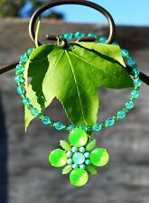 Ultra lime green color Maltese cross acrylic bead & cab NECKLACE