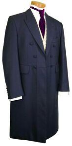 MEN'S NAVY BLUE 100% WOOL LONG FROCK COAT WEDDING FORMAL   40-42