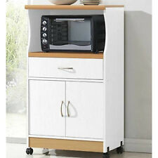 Rolling Microwave Cart White Storage Cabinet Pushing Island Kitchen Stand Unit