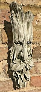 Wall Hanging Green Man Face Garden Ornament Stone Quirky Gift Present