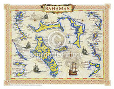 "19.5 x 25"" Bahamas Vintage Look Map Poster Printed on Parchment Paper"