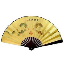 """DOUBLE DRAGON LARGE COLOR FAN 13"""" Folding Hand Wall NEW Bamboo Asian Chinese"""