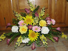 Mothers Day Yellow w/ Eggplant Color Lily Tombstone Saddle Cemetery Silk Flower