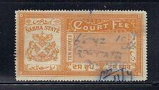 INDIA  NABHA 10 RUPEE REVENUE (COURT FEE) F/VF USED