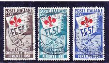 ITALIA REPUBBLICA 1951 CONCORSI GINNICI 3 VALORI USATI