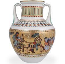 Geb,Ancient Egyptian Vase Egypt Gods,Wheat,Gold,Blue,Snake, Ceramic Vase,Hand Painted Vase Acrylic Painted Vase Decorative Vase