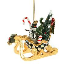 New MacKenzie Childs Over The River Sleigh Ornament with Snowman Courtly Checks