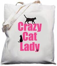 Crazy Cat Lady-naturale (crema) Cotone Borsa A Tracolla