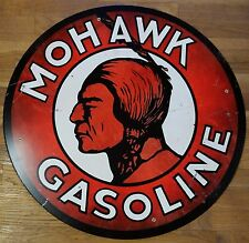 """MOHAWK GASOLINE INDIAN HEAD RED & WHITE 28"""" ROUND GAS STATION ADVERTISING SIGN"""