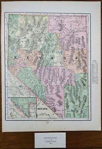 "Vintage 1900 NEVADA Map 11""x14"" ~ Old Antique Original BLACK ROCK DESERT RENO NV"