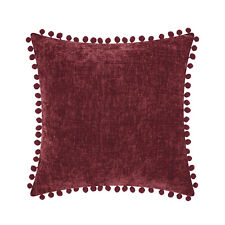 CaliTime Pom Poms Pillows Shells Cushion Covers Solid Chenille Sofa Home Decor