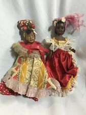 "Lot Of 2 Cute ""Chiquita� Doll Bahama Skirt/Fabric Vintage International Ethnic"