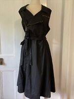 City Chic size 20 L Black Zip front Fit & Flare Dress Sweetheart neck A line s