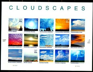 CLOUDSCAPES Complete Sheet of 15 $.37 S/A MNH Stamps Scott's 3878