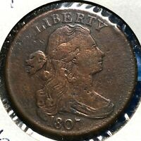 1807 1C Draped Bust Cent S-276, R-1, Blunt 1 Large Fraction, Rotated Die(56305)