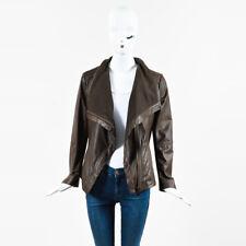 Elie Tahari Brown Leather & Cotton Ribbed Knit Trim Draped Jacket SZ M