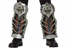 Medieval Fantasy EVA Shin Guards Armor Skull Flames Bones Costume Accessory