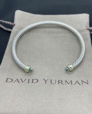 DAVID YURMAN 4MM CABLE CLASSIC 18K & STERLING SILVER PRASIOLITE BRACELET MEDIUM