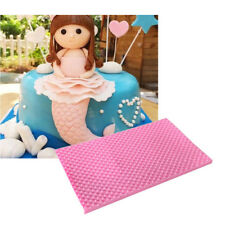 3D Mermaid Fish snake Scale lace border Mat Cake Decorating Silicone Molds ^P