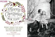 Personalised Christmas Modern Wreath Photo Cards - Digital CD Pcc100