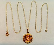 9ct Gold St Christopher Pendant With Chain